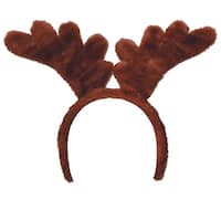 Club Pack of 12 Brown Plush Soft-Touch Reindeer Antler Snap-On Headbands - Adult Sized