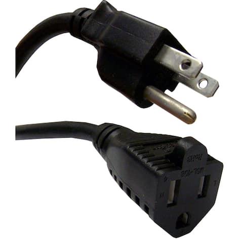 Offex Power Extension Cord, Black, NEMA 5-15P to NEMA 5-15R, 10 Amp, 15 foot - Black