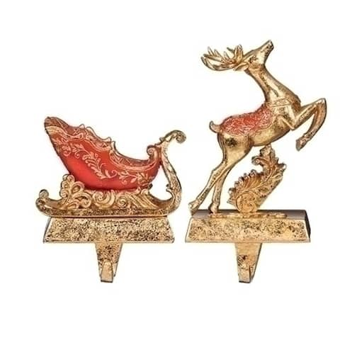 """Set of 2 Red Gold Deer and Sleigh Christmas Stocking Holder 6"""""""