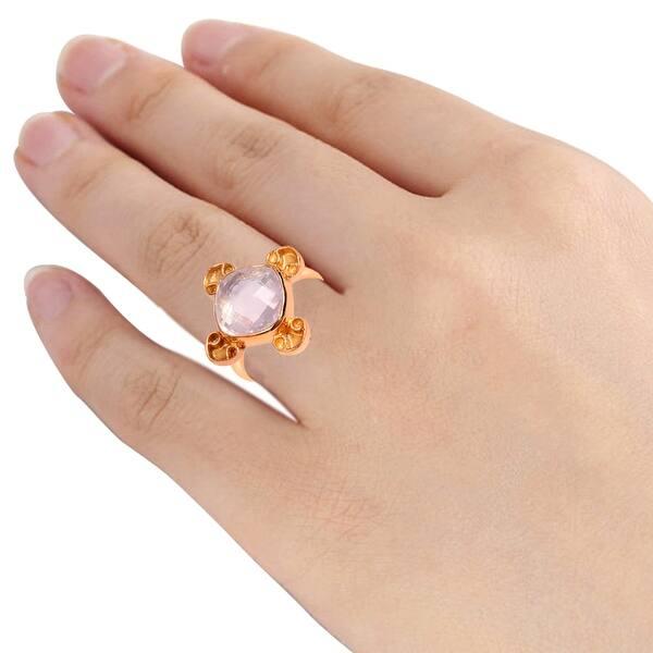 Rose Quartz Brass Ring
