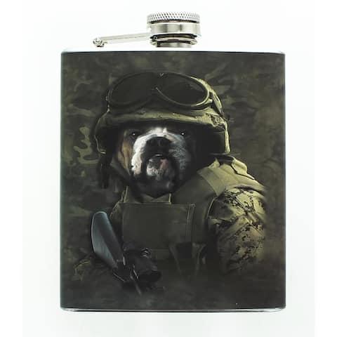 Combat Bulldog Sam 7oz Stainless Steel Flask - Multi