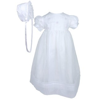Baby Girls White Organza Sheer Flowers Bonnet Christening Dress Outfit