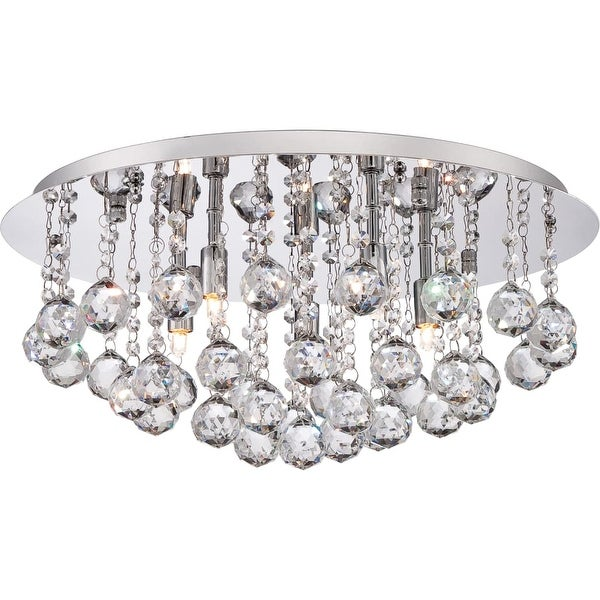 "Platinum BRX1619 Bordeaux 5-Light 20"" Wide Flush Mount Ceiling Fixture with Optic Crystal Accents - Polished chrome - n/a"