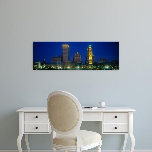 Easy Art Prints Panoramic Images's 'Buildings lit up at night, Providence, Providence County, Rhode Island' Canvas Art