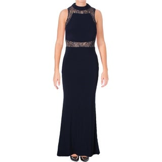 Aqua Womens Evening Dress Crepe Lace Inset