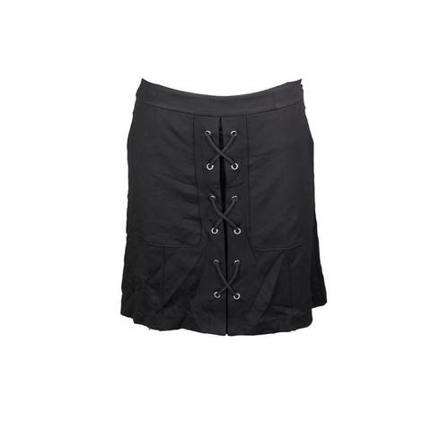 Catherine Malandrino Black Lace Up Front Skirt 14
