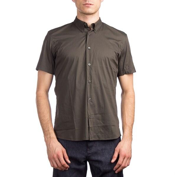 Prada Men X27 S Short Sleeve Cotton Dress Shirt Olive Green