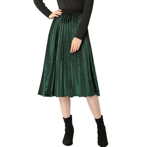 Women's High Elastic Waist Velvet Pleated Swing Midi Skirt