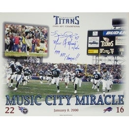 Music City Miracle signed Tennessee Titans 11X14 Photo w/ Music City Miracle 01/08/00 & '99 AFC Champs w/ Kevin Dyson signature