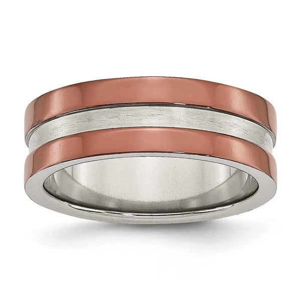 Stainless Steel 8mm Brown-plated Grooved Polished Band