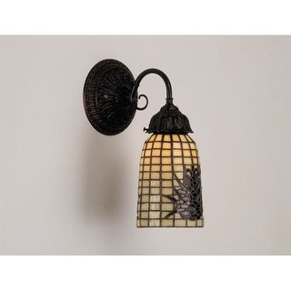 """Meyda Tiffany 74047 12"""" Wide Single Light Wall Sconce with Stained Glass Shade"""