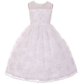 Flower Girl Dress Lace Throughout Pearls Decorate White TR 1037