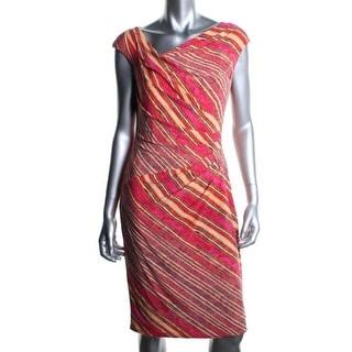 Lauren Womens Matte Jersey Printed Wear to Work Dress - 12