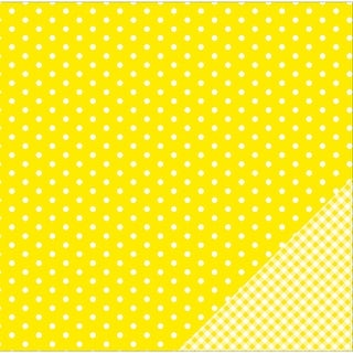 "American Crafts Basics Double-Sided Cardstock 12""X12""-Lemon Dot"