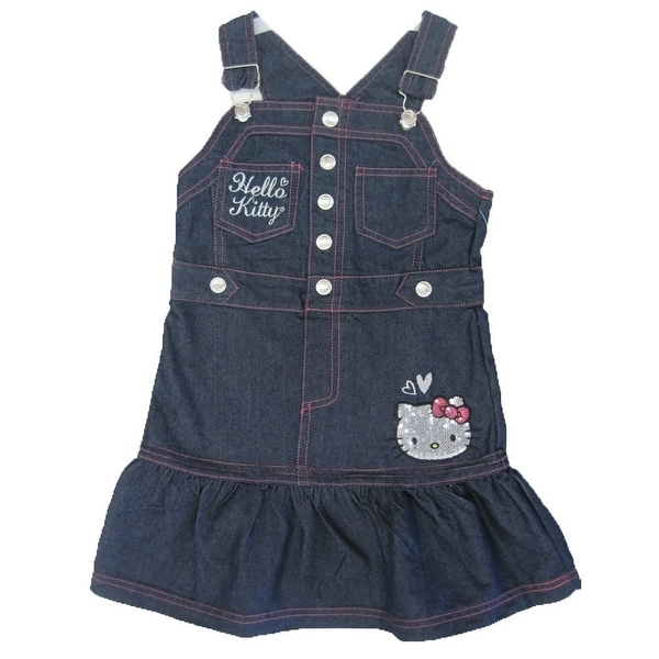 ff1af89d2 Shop Hello Kitty Little Girls Blue Denim Snap Sequined Applique Ruffle  Dress 4-6X - Free Shipping On Orders Over $45 - Overstock - 18165686