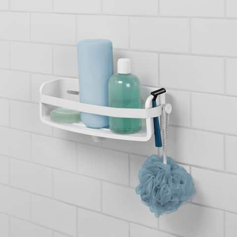 """Umbra 1004001 Flex 4 1/2"""" Tall ABS Plastic Shower Caddy with Suction Cup Seal - White"""