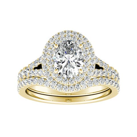 Ethical Sparkle 1.69ctw Lab Grown Oval Halo Diamond Engagement Ring Set 14k Gold