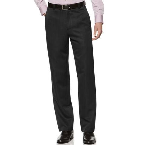 Kenneth Cole Mens Flat Front Dress Pants Slacks, Black, 34W x 32L - 34W x 32L