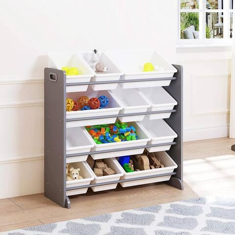UTEX Kids' Toy Storage Organizer with 12 Plastic Bins (Gray)