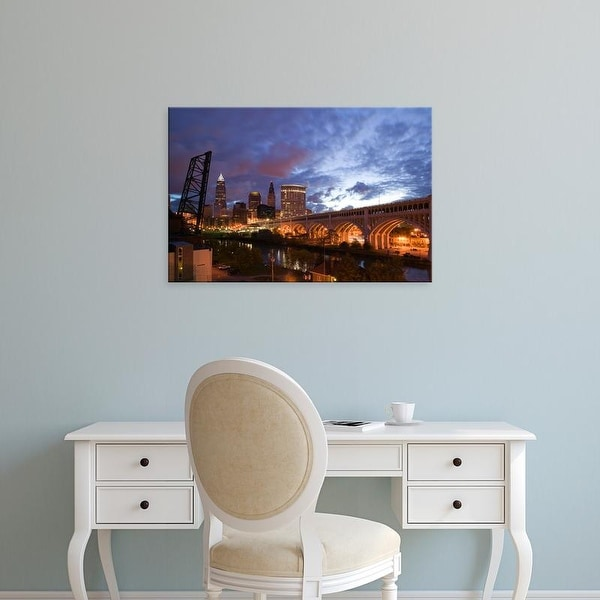 Easy Art Prints Walter Bibikow's 'Cleveland: Downtown View with Detroit Avenue Bridge from the Flats Area' Canvas Art