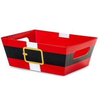 "Pack Of 6, Santa's Belt Large Wide Base Market Tray 5.5"" X 7.5""X 3.5"" For Gourmet Gift Baskets, Food Baskets"