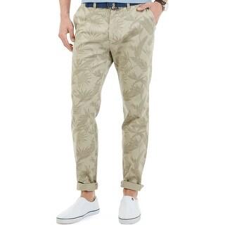 Nautica Modern Slim Fit Leaf Print Flat Front Pants Feather Beige 30 x 30