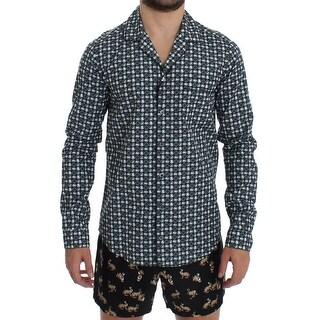 Dolce & Gabbana Dolce & Gabbana Green Hat Print Cotton Pajama Shirt Sleepwear