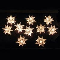 Set of 10 Clear Diamond Star Novelty Christmas Lights - Green Wire