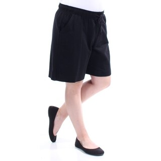 KAREN SCOTT Womens New 1466 Black Tie Straight Leg Casual Short S B+B