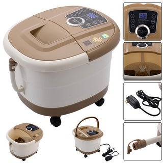 Costway Portable Foot Spa Bath Massager Bubble Heat LED Display Infrared Relax - as pic