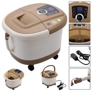 Costway Portable Foot Spa Bath Massager Bubble Heat LED Display Vibration Infrared Relax