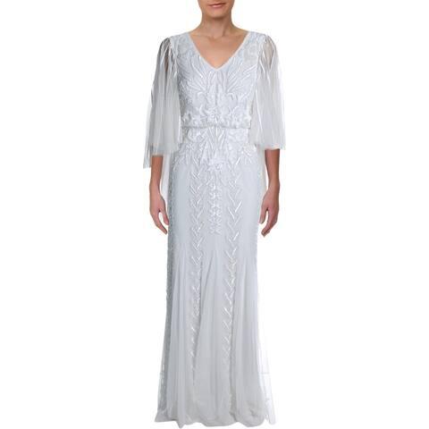 Adrianna Papell Womens Wedding Dress Mesh Embellished - Ivory