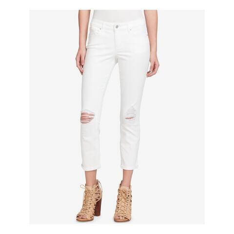 JESSICA SIMPSON Womens White Frayed Skinny Jeans Size 32 Waist