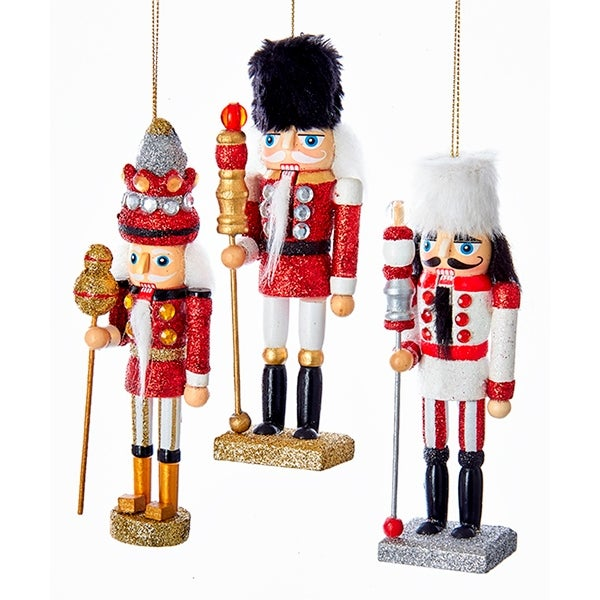 kurt adler hollywood red white soldiers nutcracker holiday ornaments set of 3 - Nutcracker Christmas Ornaments