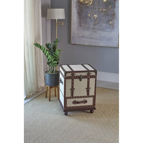 Martina Beige and Bronze Accent Cabinet with Nailhead