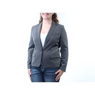 ANNE KLEIN Womens New 1341 Gray Blazer Wear To Work Jacket 14 B+B