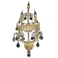 """Worldwide Lighting W23072G12 Maria Theresa 5-Light 12"""" Wall Sconce in Gold with Clear Crystals - N/A"""