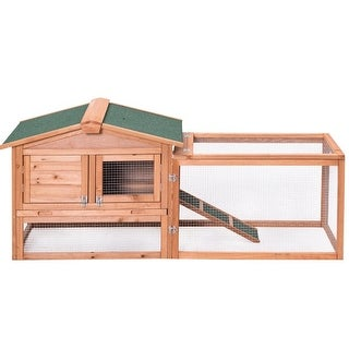 Gymax Wooden Rabbit Hutch Chicken Coop Poultry Cage Hen Duck House Pet Run Backyard