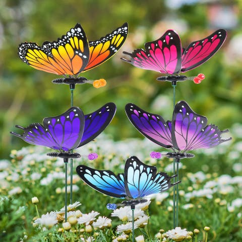 """Exhart 6 Piece 4"""" WindyWings Butterfly Plant Stake Assortment, 6 x 4.5 x 16 Inches"""