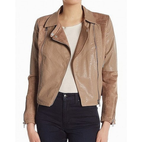 VIGOSS Brown Womens Size Small S Motorcycle Faux-Suede Jacket