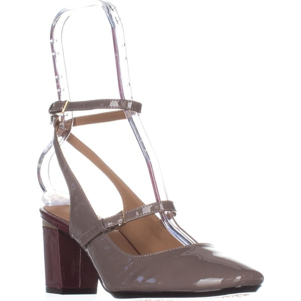 Calvin Klein Cleary Ankle Strap Heels, Winter Taupe Patent