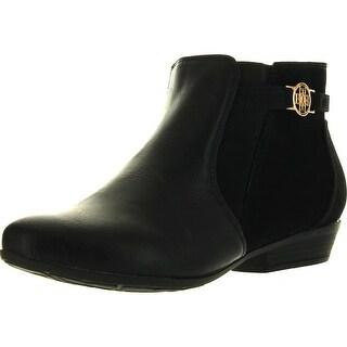 Betani Womens Brenda-2 Fashion Buckle Side Zipper Flat Heel Ankle Bootie - Black - 5.5 b(m) us