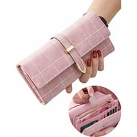 Women Rfid Blocking Long Clutch Wallet Grid Print Coin Purse Pu Leather Buckle Zipper Card Holder Travel Purse