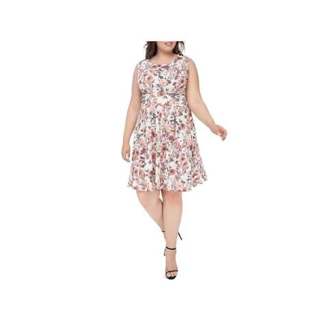 Bobeau Womens Plus Skye Casual Dress Floral Fit & Flare