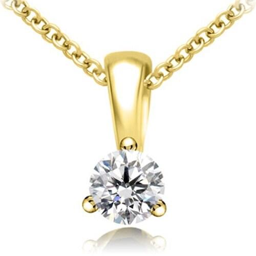 0.75 cttw. 14K Yellow Gold Round Cut Diamond 3-Prong Basket Solitaire Pendant