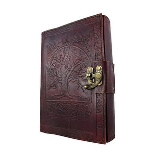 Large Embossed Leather Celtic Tree Of Life 184 Leaf Diary Journal with Clasp - brown