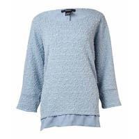 Alfani Women's Sequined Textured Crepe-Trim Sweater