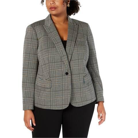 Anne Klein Womens Plaid One Button Blazer Jacket, Blue, 16W