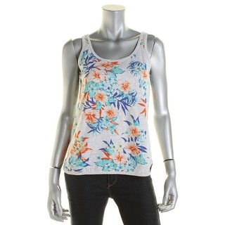 DKNY Jeans Womens Heathered Floral Print Tank Top - XS