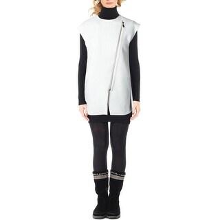 Elie Tahari Womens Prado Vest Asymmetric Contrast Trim